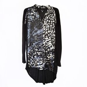 Johnny Was Biya Black Leopard Silk Tunic Blouse XS